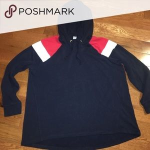 Navy blue hoodie with red and white accents
